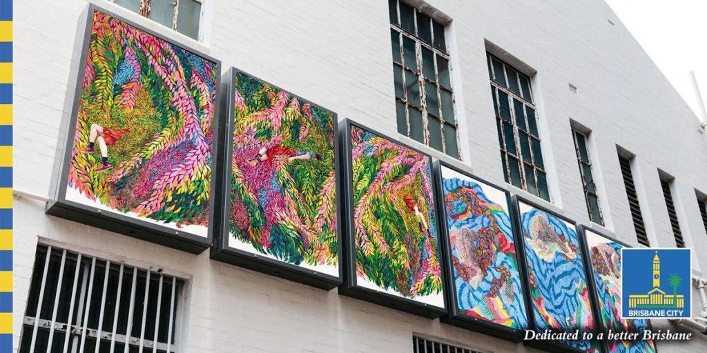 Monica Rohan's Sunny Side Up light box installation, image courtesy of Brisbane City Council