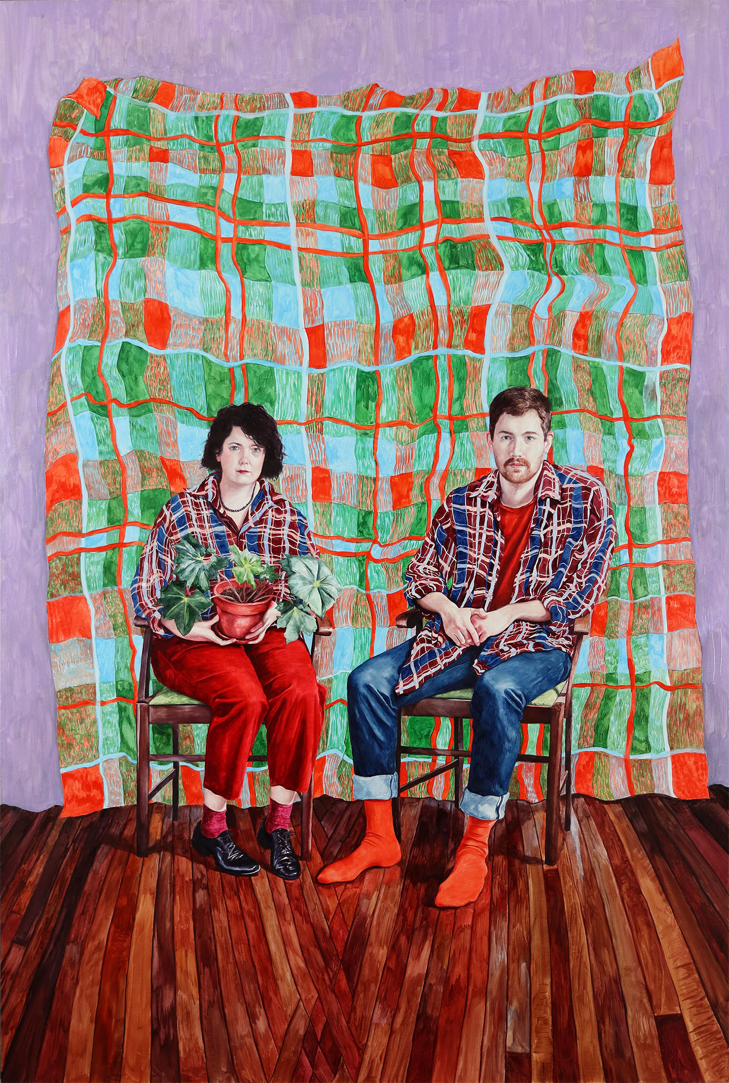 Image credit: Monica Rohan, 'Mon and Mitch', 2021, oil on board, 92.0 x 61.0 cm